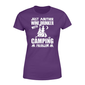 Just Another Wine Drinker Camping Problem Outdoor - Standard Women's T-shirt Apparel XS / Purple