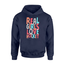 Load image into Gallery viewer, Real Girls Love Hockey - Standard Hoodie Apparel S / Navy