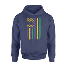 Load image into Gallery viewer, US Mardi Gras Flag Fat Tuesday Tees - Standard Hoodie Apparel S / Navy