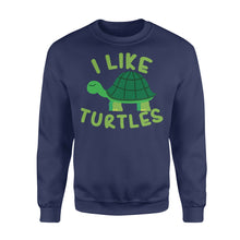 Load image into Gallery viewer, I like Turtles Tortoise Sea Beach Lover - Standard Fleece Sweatshirt Apparel S / Navy