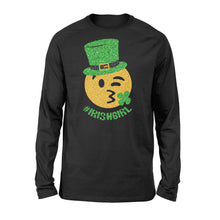 Load image into Gallery viewer, Mens Womens Irish Girl St Patricks Day Paddys Day Shirts - Standard Long Sleeve Apparel S / Black