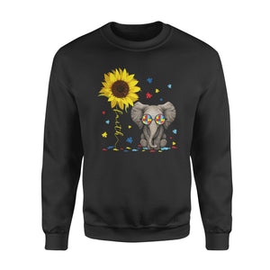 Awesome Faith Sunflower Elephant Autism Support Shirt Awareness Month - Standard Fleece Sweatshirt