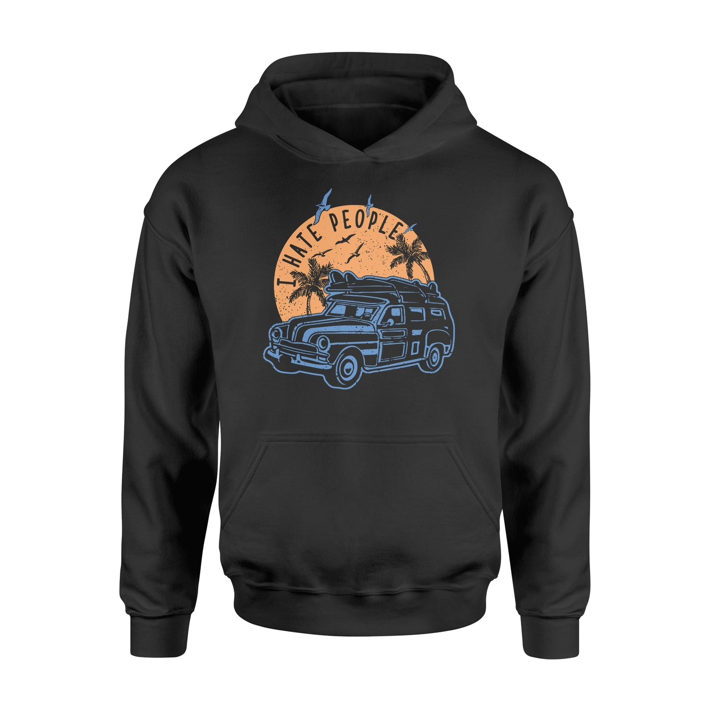 I Hate People Surfing - Standard Hoodie Apparel S / Black