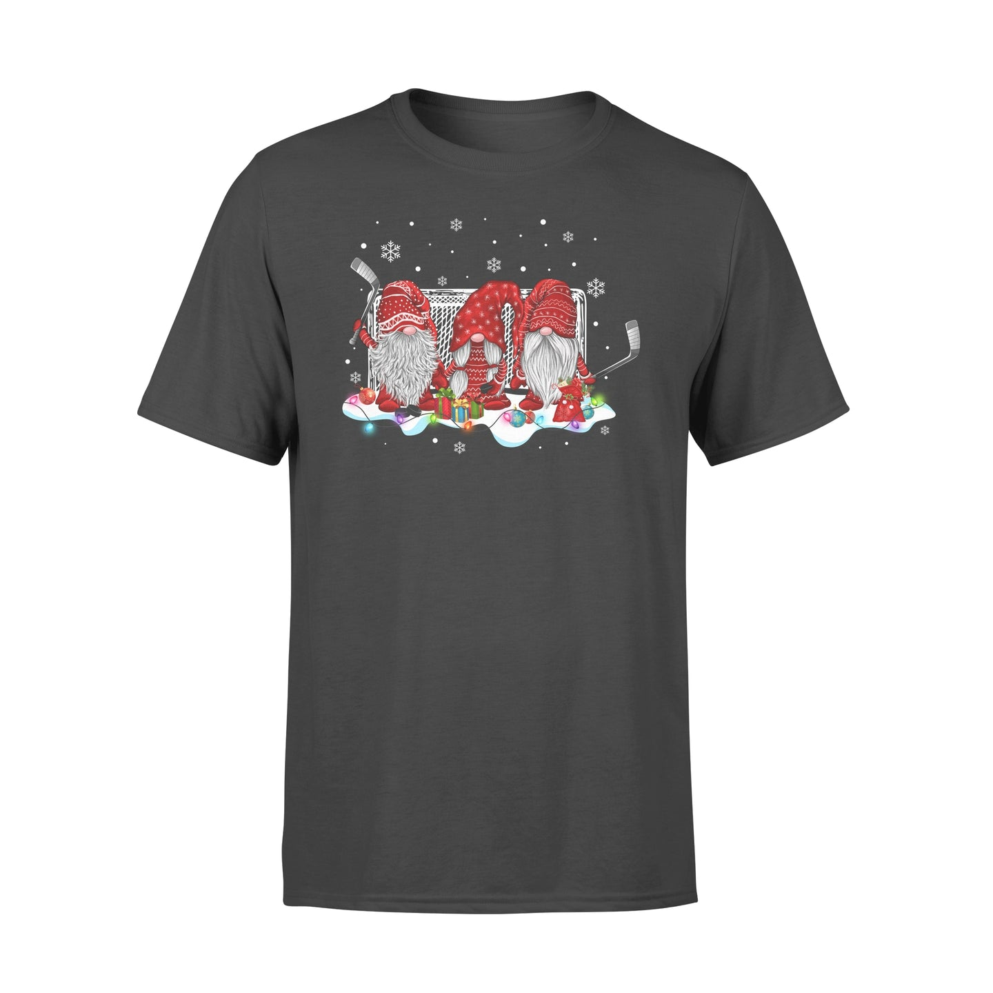 Funny Sport Ice Hockey Gnome Christmas Family Xmas Friends Gnomies - Standard T-shirt Apparel S / Black