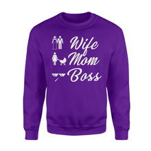 Load image into Gallery viewer, Wife Mom Boss Funny - Standard Fleece Sweatshirt Apparel S / Purple