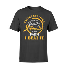 Load image into Gallery viewer, Cancer Survivor With My Family Friends - Faith I Beat It - Standard T-shirt Apparel S / Black