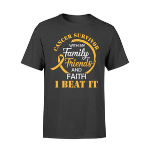 Cancer Survivor With My Family Friends - Faith I Beat It - Standard T-shirt Apparel S / Black