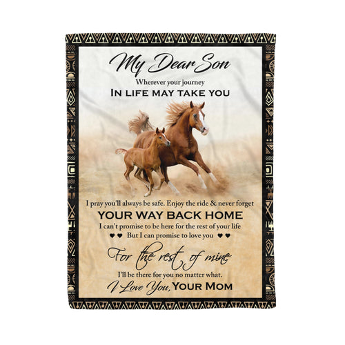 Mom For Son Blanket Wild Horse Lovers Graphic Design Family Quotes Birthday Gift - Fleece Blanket