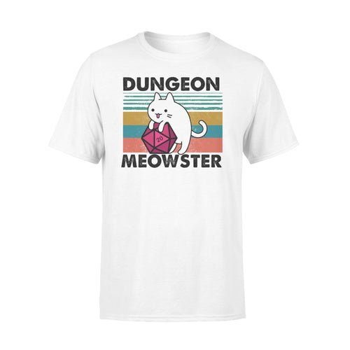 Funny DnD Cat Gamer Vintage RPG Dungeon Meowster Shirt - Standard T-shirt Apparel S / White