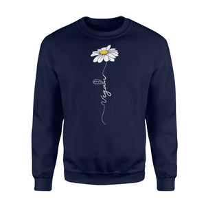 Vegan Hippie Vegetable Flower T shirt - Standard Fleece Sweatshirt Apparel S / Navy