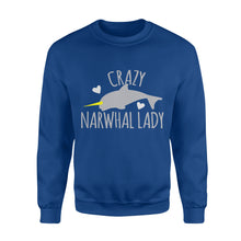 Load image into Gallery viewer, Crazy Narwhal Lady - Standard Fleece Sweatshirt Apparel S / Royal