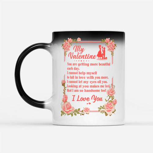 Couple Valentine Love Quote Mug His Her Floral Graphic Wife Husband Themed - Color Changing Mug Drinkware 11oz