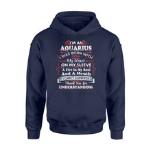 Load image into Gallery viewer, I'm An Aquarius I Was Born With My Heart On My Sleeve Birthday - Standard Hoodie Apparel S / Navy