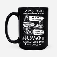 Load image into Gallery viewer, Viking Son Quote Mug From Mom Odin's Warrior Thor Valknut Norse Mythology - Black Mug Drinkware 15oz