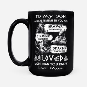 Viking Son Quote Mug From Mom Odin's Warrior Thor Valknut Norse Mythology - Black Mug Drinkware 15oz