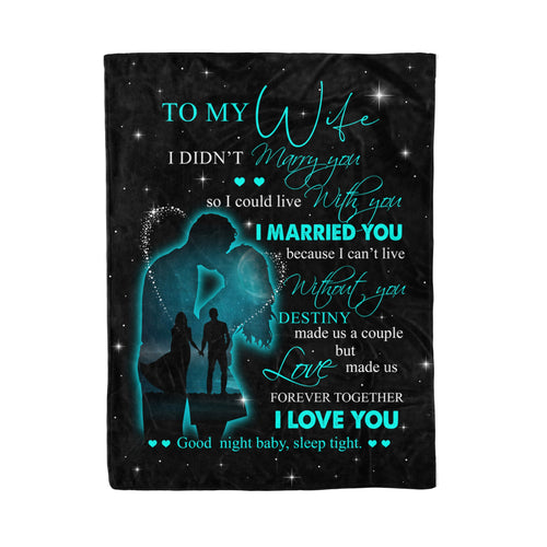 Valentine To My Wife Blanket Designs Couples Husband Wife Bride Groom I Married You - Fleece Blanket Home Small (30x40in)