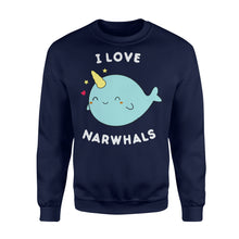 Load image into Gallery viewer, I Love Narwhals Cute - Standard Fleece Sweatshirt Apparel S / Navy
