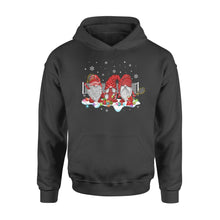 Load image into Gallery viewer, Funny Sport Tennis With Gnome Christmas Family and Friends Gnomies - Standard Hoodie Apparel S / Black