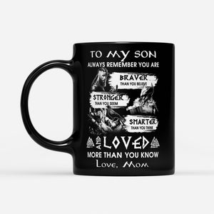 Viking Son Quote Mug From Mom Odin's Warrior Thor Valknut Norse Mythology - Black Mug Drinkware 11oz