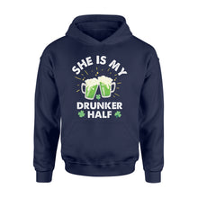 Load image into Gallery viewer, Funny She Is My Drunker Half Irish - Standard Hoodie Apparel S / Navy