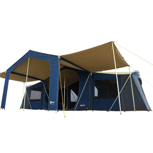 Homestead Deluxe Tent with 2x Veranda Awnings attached.