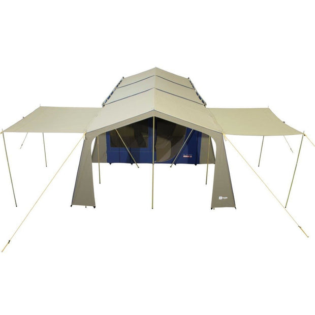 Coastline tent with 2x Optional Veranda awnings attached.