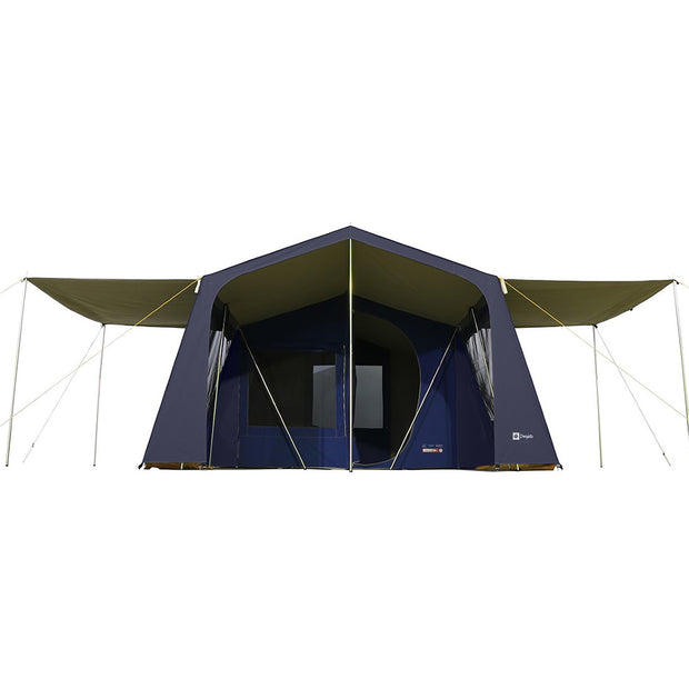 Lakeside Tent with 2x Optional Awnings attached.