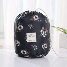 Load image into Gallery viewer, New Way Beauty Black flowers Round Waterproof Makeup Bag | Travel Cosmetic bag Organizer