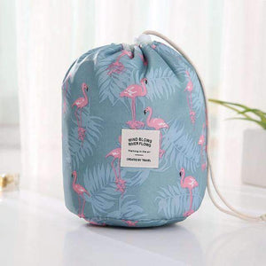 New Way Beauty Blue flamingo Round Waterproof Makeup Bag | Travel Cosmetic bag Organizer