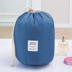 New Way Beauty Blue Round Waterproof Makeup Bag | Travel Cosmetic bag Organizer