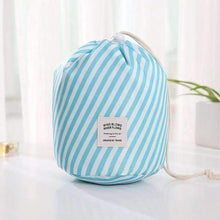 Load image into Gallery viewer, New Way Beauty Blue stripes Round Waterproof Makeup Bag | Travel Cosmetic bag Organizer