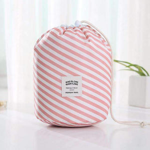 New Way Beauty Pink stripe Round Waterproof Makeup Bag | Travel Cosmetic bag Organizer