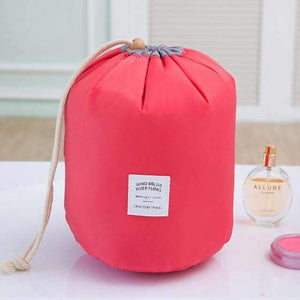 New Way Beauty Red Round Waterproof Makeup Bag | Travel Cosmetic bag Organizer