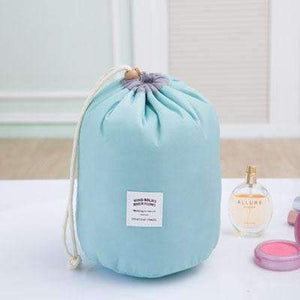 New Way Beauty Sky Blue Round Waterproof Makeup Bag | Travel Cosmetic bag Organizer