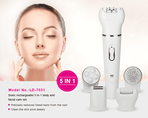 New Way Beauty Sonic Rechargeable 5 in 1 Body and Facial Care Set