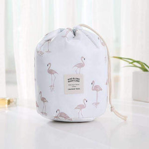 New Way Beauty White flamingos Round Waterproof Makeup Bag | Travel Cosmetic bag Organizer