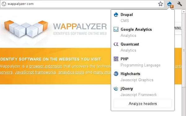 Extesion chrome Wappalyzer