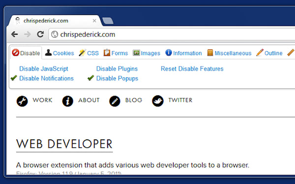 Extensiones Chrome Web Developer