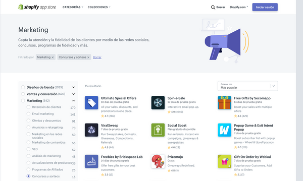 Apps de Shopify para marketing