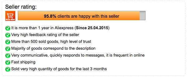 Rating de vendedores en AliExpress