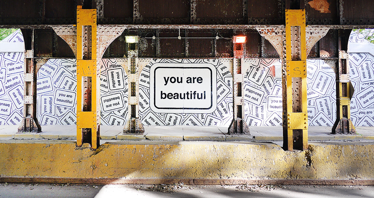 Public art you are beautiful for Chicago mural artist