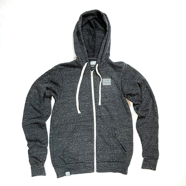 Zip Up Patch Hoodie - Charcoal