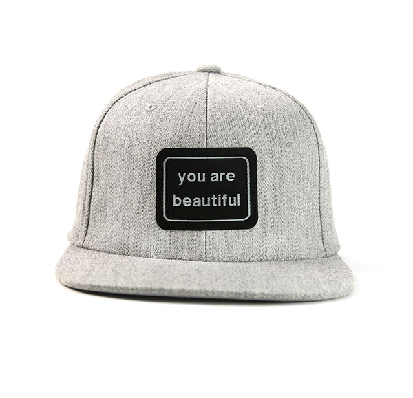 You Are Beautiful Snapback Hat Grey