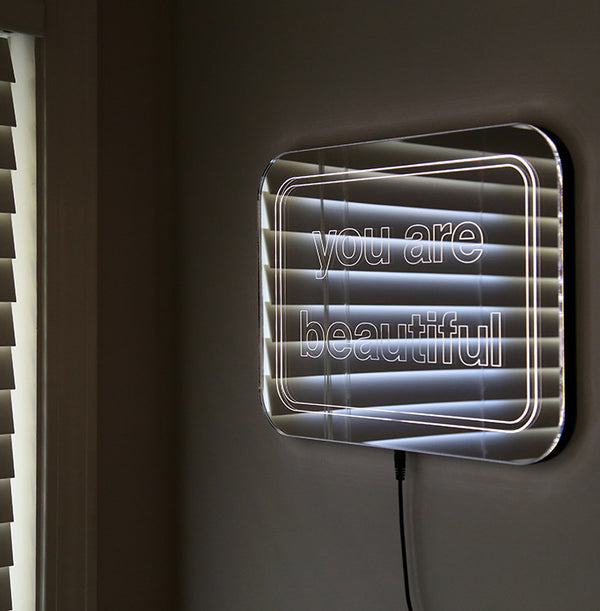 You Are Beautiful Glowing LED Mirror