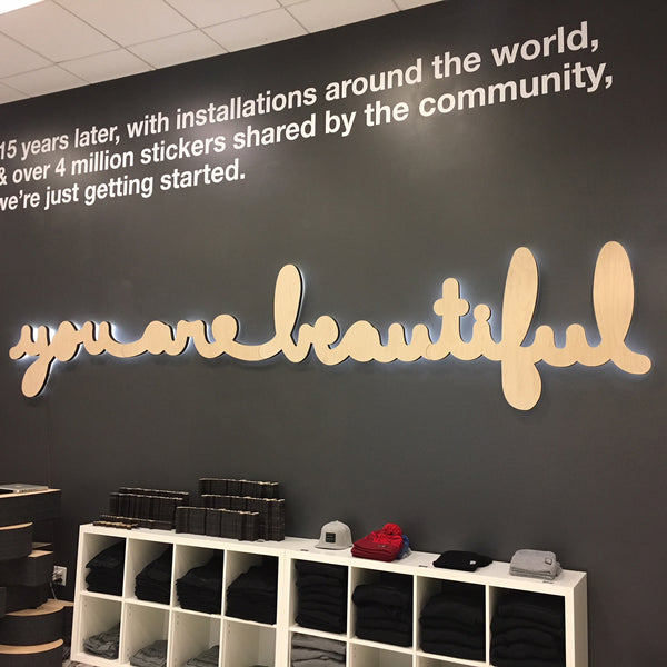 Large You Are Beautiful Cursive Installation