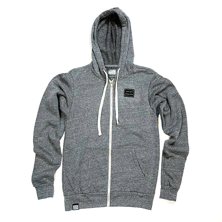 Zip Up Patch Hoodie - Grey