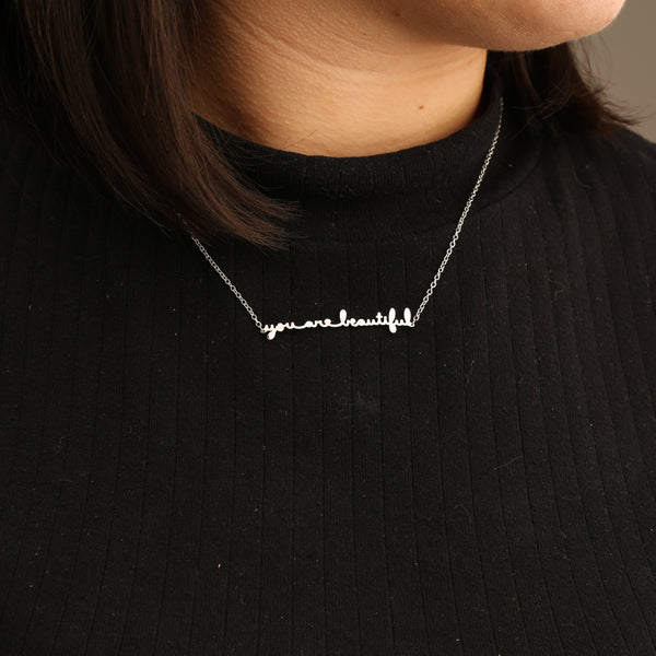 You Are Beautiful Cursive Necklace
