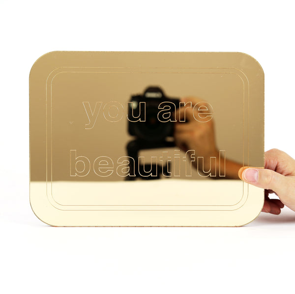 You Are Beautiful Gold Mirror - Medium