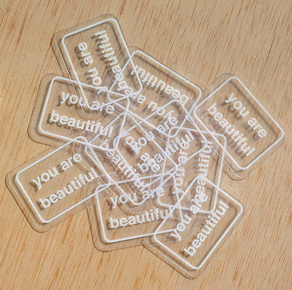 You Are Beautiful Mini Clear Sticker