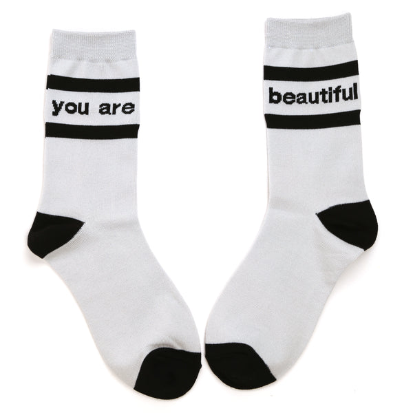 You Are Beautiful Stitched Socks